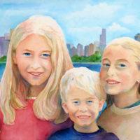 """City Siblings,"" Watercolor on Paper, 22"" x 30"""