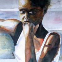 """Island Girl after Mary Whyte,"" Watercolor on Paper, 22"" x 15"""