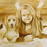 """On the Beach with Puppy,"" Watercolor on Paper"