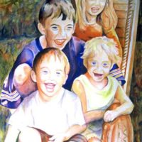 """Four on a Slide,"" Watercolor on Paper, 30"" x 22"""