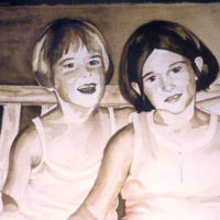 """Sisters on a Bench,"" Watercolor on Paper, 15"" x 22"""