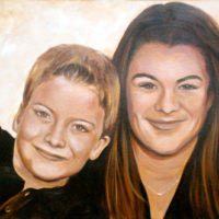 """Sepia Sibs,"" 20"" x 26"", Oil on Canvas"