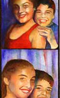"Sibs in a Photobooth, 30"" x 7"", Watercolor/Paper, © Nancy Pochis Bank"