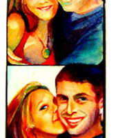 "Young Couple in a Photobooth, 30"" x 7"", Watercolor/Paper, © Nancy Pochis Bank"