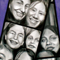 Core Four in a Photobooth, Oil/Canvas, © Nancy Pochis Bank