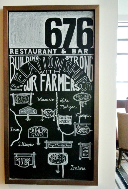 This board is also in the dining room, highlighting 676's relationships with local farmers throughout the midwest.