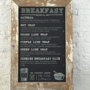 Chalboard menu