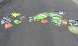 Pochis Bank Art Studio Pavement Art Inspired by Eric Carle_3